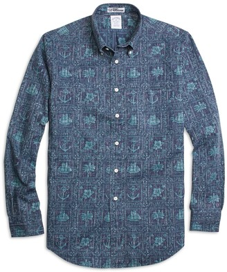 Brooks Brothers Regent Fit Nautical Print Sport Shirt