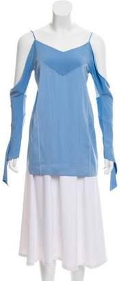 Celine Silk Cold-Shoulder Top