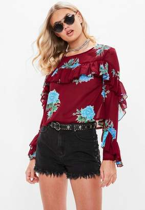 Missguided Burgundy Print Long Sleeve Frilled Blouse