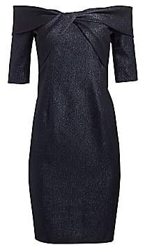 Teri Jon by Rickie Freeman Women's Twisted Bodice Off-The-Shoulder Cocktail Dress
