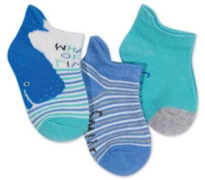 Size 3-12M 3-Pack Blue Whale Of Time Low Cut Socks