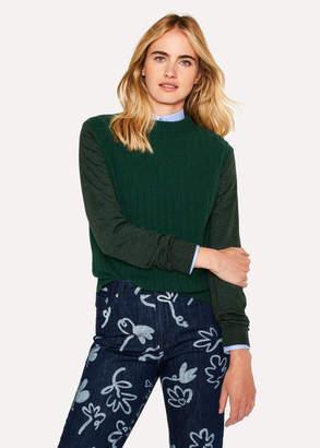 Paul Smith Women's Dark Green Ribbed Wool-Blend Sweater