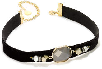 Paul & Pitu Naturally Two-Tone Pave, Imitation Pearl & Purple Stone Black Velvet Choker Necklace