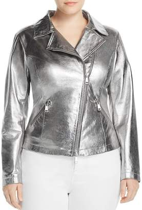 Marina Rinaldi Ebe Metallic Leather Moto Jacket