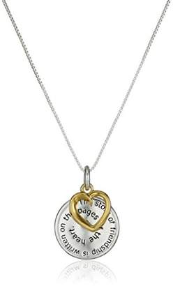 """story. Two-Tone Sterling Silver with Yellow Gold Flashed""""The of Friendship"""" Disc and Heart Pendant Necklace"""