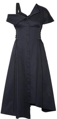 Jason Wu - Lace-up Asymmetric Cotton-poplin Dress - Midnight blue $1,100 thestylecure.com
