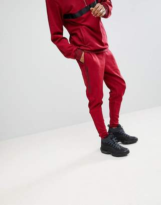 Sixth June Skinny Track Joggers In Burgundy With Side Stripe