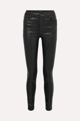 J Brand Maria Coated High-rise Skinny Jeans - Black
