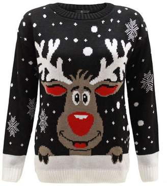 Christmas Jumper Women KNITTED XMAS CHRISTMAS RUDOLF REINDEER JUMPER-M/L