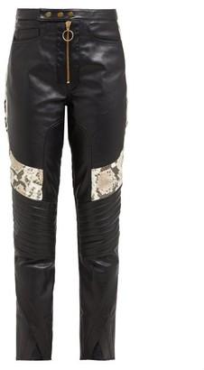 Marques Almeida Marques'almeida - Panelled Leather Biker Trousers - Womens - Multi