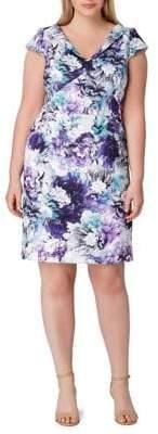 Tahari Arthur S. Levine Plus Folded-Neck Floral Scuba Sheath Dress