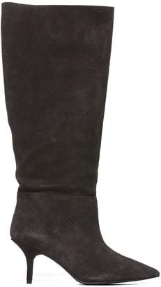 Yeezy Knee-high Boots From Black Knee-high Boots With Pointed Toe, Branded Insole, Knee-length And Mid High Stiletto Heel.