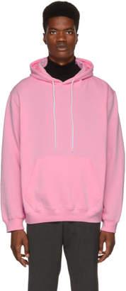 MSGM Pink Backwards Logo Hoodie