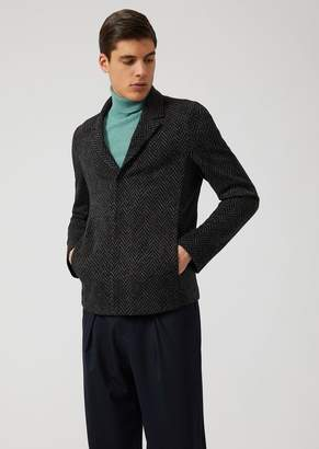 Emporio Armani Jacquard Wool Blend Single-Breasted Jacket With Herringbone Motif