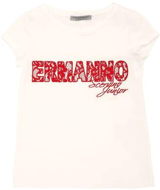 Ermanno Scervino Lace Logo Cotton Jersey T-Shirt