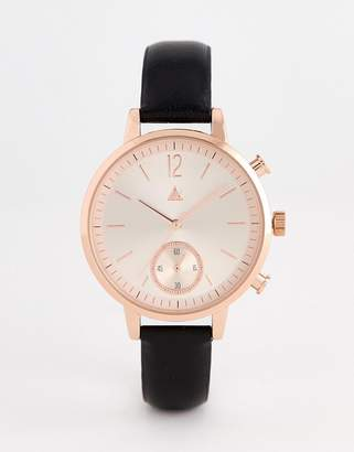Asos DESIGN leather watch with rose gold sunray face and embossed edge detail in black