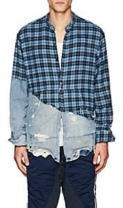Greg Lauren Men's Plaid Flannel & Denim Studio Shirt - Blue