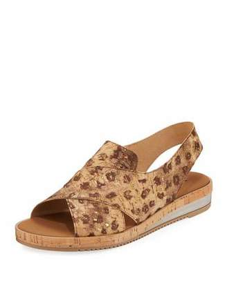 Sesto Meucci Sabita Comfort Cork-Print Leather Slingback Sandals