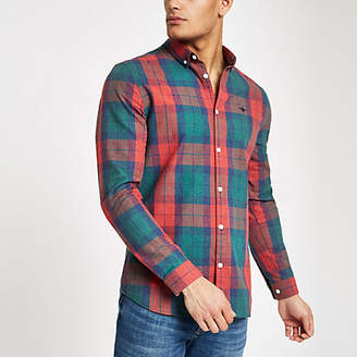 River Island Mens Red check wasp embroideRed regular fit shirt