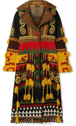 Etro Tasseled Intarsia Wool-blend Coat - Brown