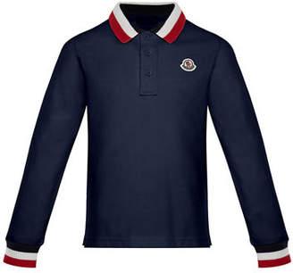 Moncler Maglia Long-Sleeve Polo Shirt, Size 8-14