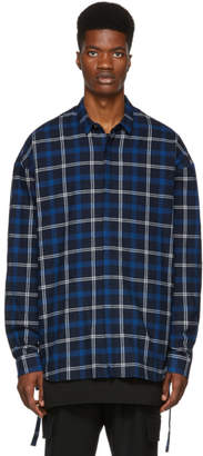 Juun.J Blue Plaid Cinch Shirt