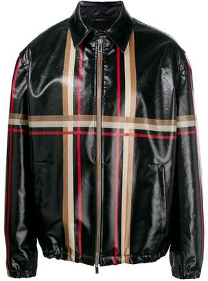 striped leather look jacket
