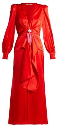 Alessandra Rich V Neck Crystal Embellished Silk Satin Dress - Womens - Red