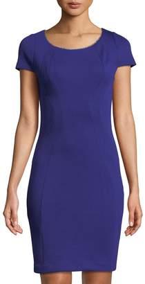 T Tahari Metallic-Trim Short-Sleeve Sheath Dress