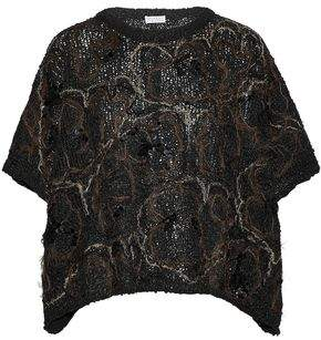 Brunello Cucinelli Embellished Coated Open-Knit Sweater