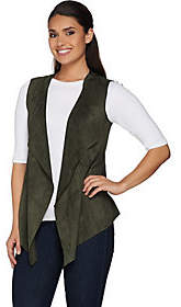 LOGO by Lori Goldstein Faux Suede Draped FrontVest