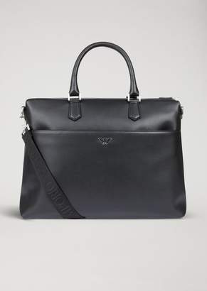 Emporio Armani Boarded Printed Leather Holdall With Logo Shoulder Strap
