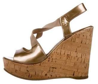 Fendi Metallic Wedge Sandals