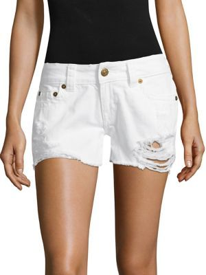 True Religion Kiera Distressed Cut-Off Denim Shorts $149 thestylecure.com
