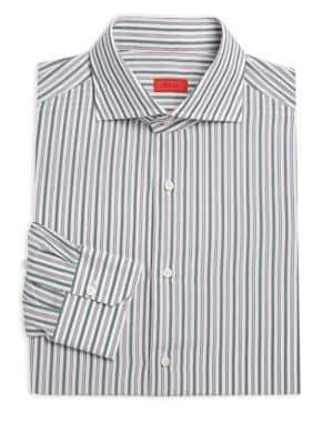 Isaia Vertical Stripe Cotton Dress Shirt