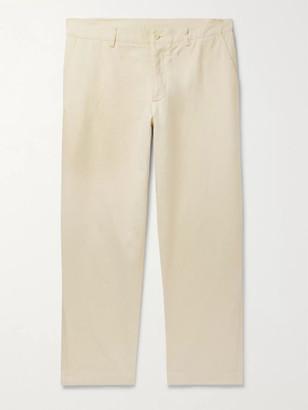 YMC Slim-Fit Cotton and Linen-Blend Trousers - Men - Off-white