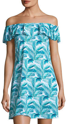 Tommy Bahama Off-the-Shoulder Ruffle Spa Dress with Pockets
