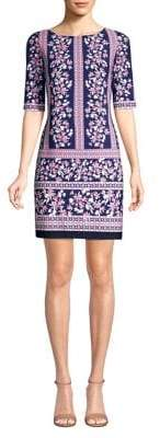 Eliza J Short Sleeve Printed Sheath Dress