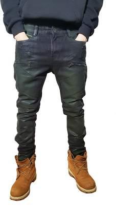 Moto URBANMANIA Men's Hipster Hip Hop Double Wax Coated Skinny Jean Pants (38X33, )