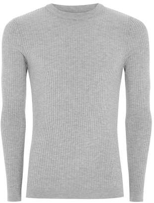 Topman Mens Mid Grey Gray Marl Ribbed Muscle Fit Sweater