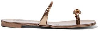 Giuseppe Zanotti - Crystal-embellished Metallic Leather Sandals - Gunmetal $650 thestylecure.com