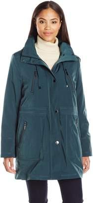 Fleet Street Ltd. Women's Faux Silk Anorak Jacket with Button Out Warmer and Detachable Hood
