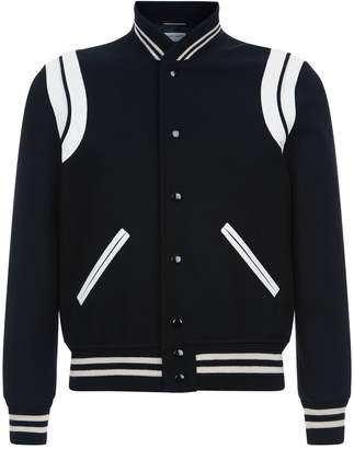 Saint Laurent Leather Trim Bomber Jacket