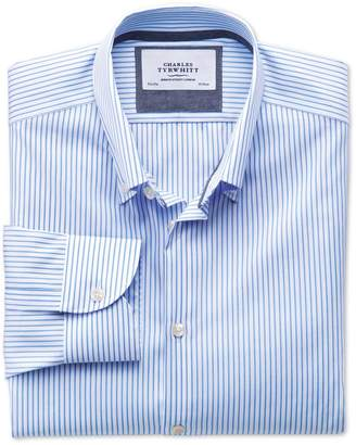 Charles Tyrwhitt Extra Slim Fit Button-Down Collar Non-Iron Business Casual White and Sky Blue Striped Cotton Dress Shirt Single Cuff Size 15.5/33