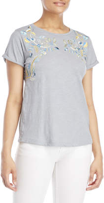Lucky Brand Embroidered Floral Tee