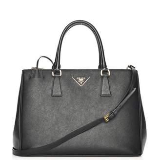 Prada Galleria Double Zip Tote Saffiano Medium Nero Black
