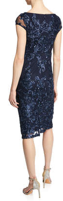 Marina Sequin Floral Embroidered Sheath Dress