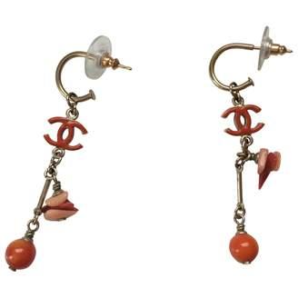 Chanel Orange Metal Earrings