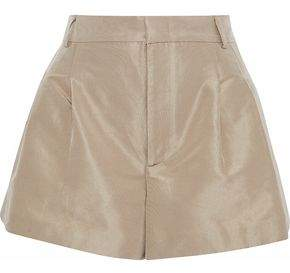RED Valentino Pleated Satin-Faille Shorts