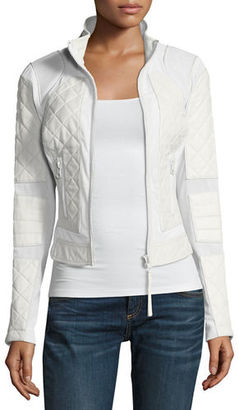 Blanc Noir Quilted Leather & Mesh Moto Jacket $279 thestylecure.com